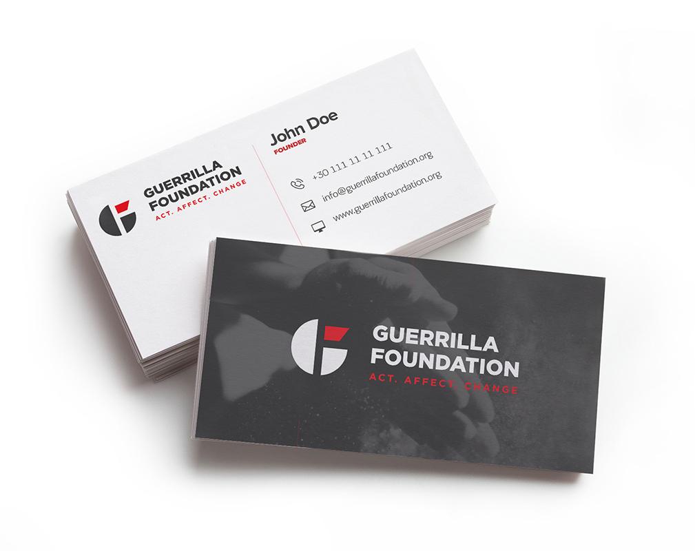 A complete corporate visual identity for the Guerrilla Foundation